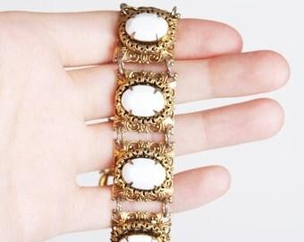 Vintage 50s 60s White & Gold Czech Bracelet / Victorian Filigree Bracelet Vintage Jewelry