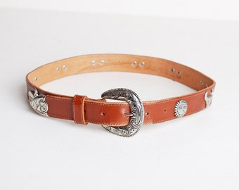 Vintage 90s Brown Buckle BELT / 1990s Silver Metal Studs & Brown Leather Belt, s m