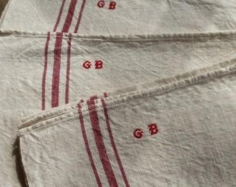 Antique Linen, Vintage Tea Towels. French Dishcloths, Monogram GB/ 2pc Embroidered Metis. Rustic Farmhouse Home Decor