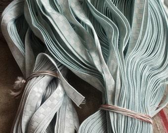 Vintage Tape Trim. Blue Satin Ribbon, Checkered Blue Ribbon / 7 yards Blue Edging, Millinery Ballet Dolls & Sewing Supplies