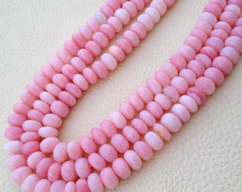 Brand New, aaa Quality PERUVIAN PINK OPAL Smooth Rondells, 8-8.5mm Size Rondells,Full 10 Inch Long Strand Great Item