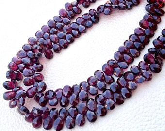 Brand New, RARE Natural RHODOLITE Garnet Faceted Pear Shape Briolettes,9x6mm Size,1/2 Strand,Rare Item at Low Price.
