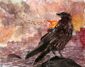 Original Art Watercolour Painting - Smoke & Fire