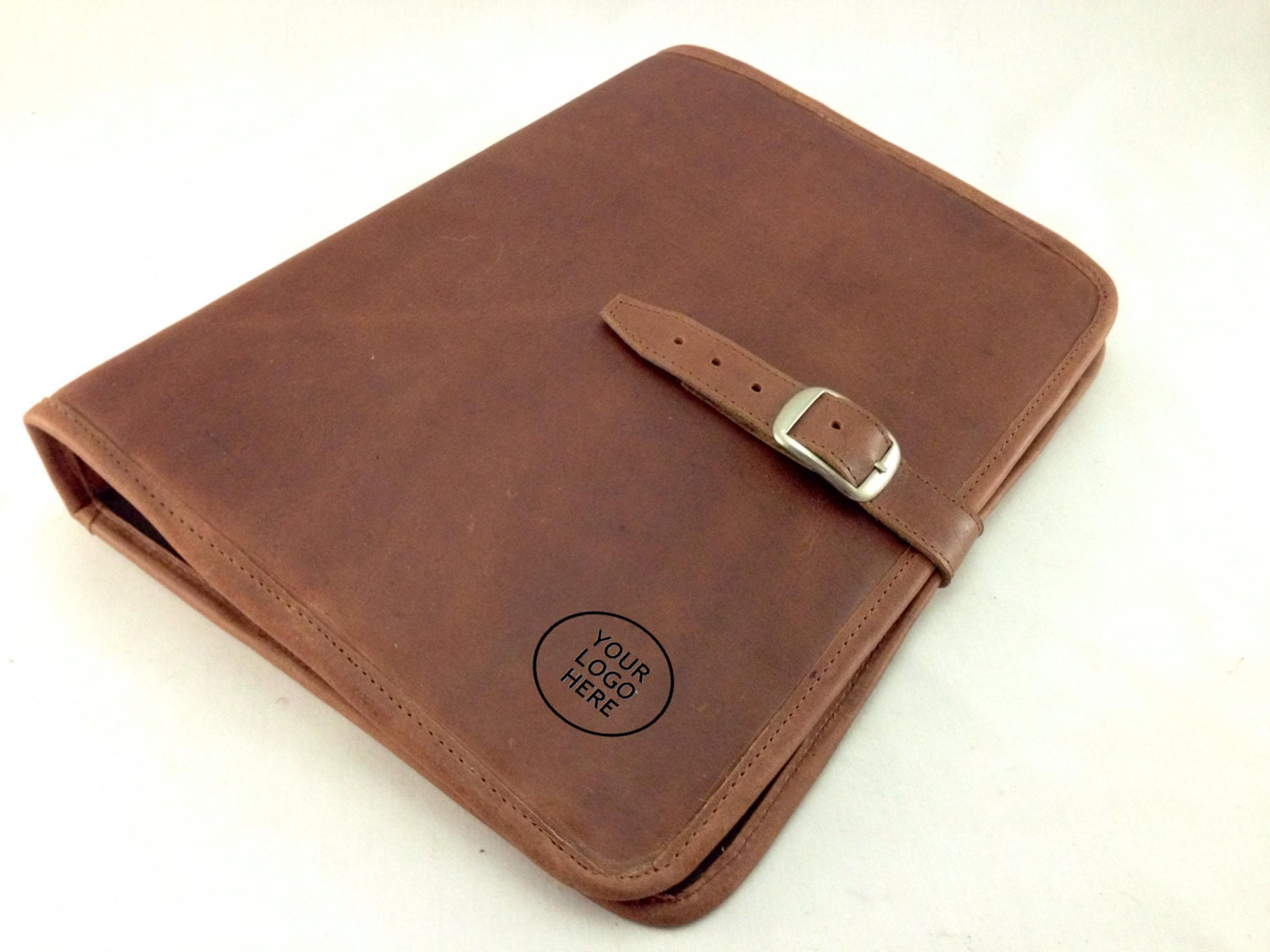 Genuine Leather Padfolio Crazy Horse Tanned Brown Letter