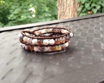 Double Wrap Leather Ocean Jasper Bracelet