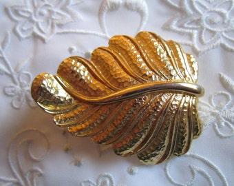 Vintage Large Gold Tone Leaf Belt Buckle