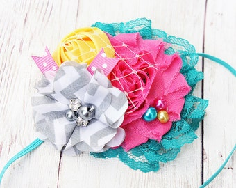 Star Attraction- vintage carnival and circus inspired ruffle, rosette, chiffon flower lace headband