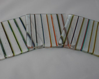 Clear Coaster with Random Coloured Thin Dark Stripes