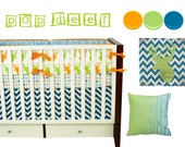 Pop Deer Crib Bedding, Baby Bedding, Deer Nursery, Woodland Nursery, Buck, Hunting, Orange, Lime, Turquoise Baby Boy Nursery Crib Bedding