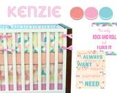 Kenzie Crib Bedding, Baby Bedding, Pink and Coral, Aqua and Pink, Geometric, Retro Baby Girl Nursery Crib Bedding