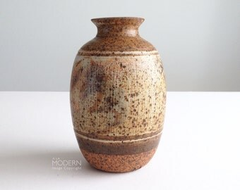Vintage Mid Century Studio Pottery Brown Speckled Stoneware Vase