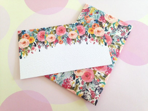 Floral gift enclosure card mini cards and envelopes set
