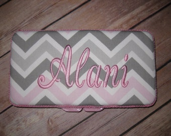 Personalized Travel Baby Wipe Case- Premier Prints Pink Grey Chevron