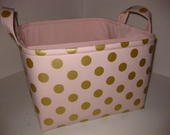 Large Diaper Caddy 10 x 10 x 7 / Organizer Bin / Blush Gold Dot Light Pink- Personalization Available