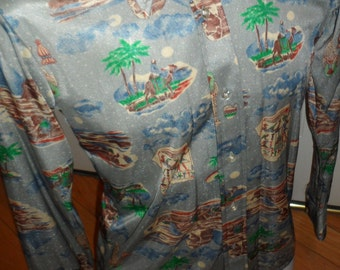 lupo nylon disco retro mod  shirt  size small   pyramids camels egyptian symbols  mummys