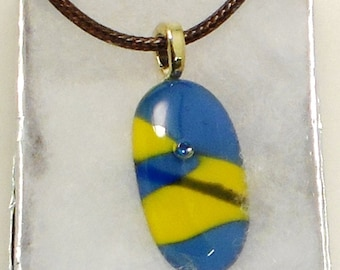 Blue & Gold Fused Glass Dichroic Pendant with Dimple Accent