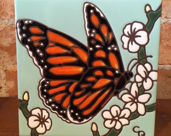 "6""x6"" Monarch Butterfly ceramic tile"