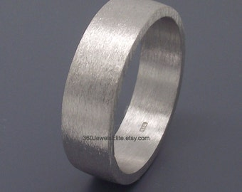 Men's Wedding Band -5-6mm silver wedding band - White Gold Ring - Men's gold ring - Men's Etsy Ring - Matte Silver Ring