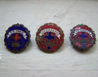 Lot of Three Sunday School Pins Enamel on Copper Air Force Methodist Nazarene C Clasps
