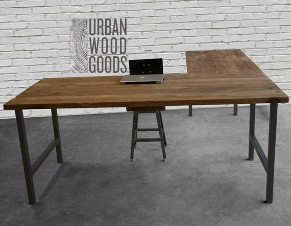 L shaped desk with reclaimed wood top and square steel legs for Metal desk with wood top