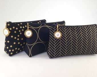 Design Your Own Clutch with Monogrammed Zipper Pull | Cosmetic or Makeup Bag | Black, White & Metallic Gold | Custom Bridesmaid Gift Set