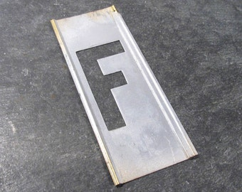 "Brass Stencil Letter F VINTAGE 2"" Letter F Stencil Scrapbooking Altered Art Assemblage Mixed Media Supplies Brass Stencil Letter F (Y24)"