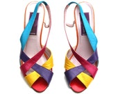 Vintage Phyllis Poland Multicolored Leather Strappy Slingback Sandals Shoes Sz 6