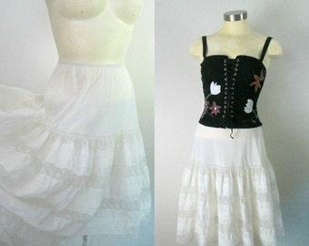 Barbizon Tiered Lace Half Slip Tutu 1940s 1950s Two Layered Cotton Batiste