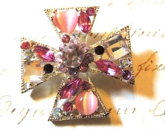 Pink Maltese Cross Brooch Pin Pendant Vintage Jewelry