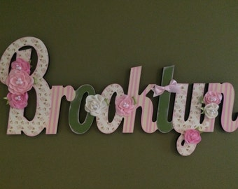 Custom Kids Name Sign - Nursery Wall Letters Name Sign - Wood Wall Letters Cursive Style