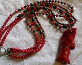 Turquoise and Coral Necklace Triple Strand Gemstone
