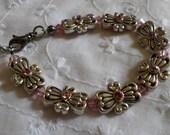 Rose Swarovski Crystal Silver Ornamental Bracelet/Anklet