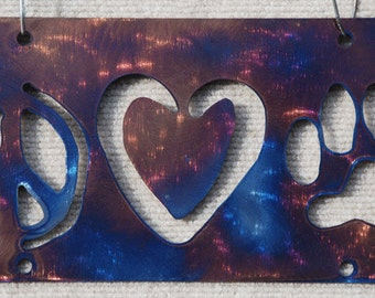 Metal Art Peace Love Paw Print Auto Plate/Sign - FREE SHIPPING!!