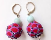 SALE Red & Pink 'CHOUX' Polymer Clay Earrings