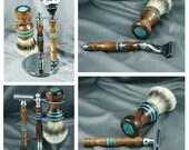 Hawaiian Koa Men's shaving kit razor brush badger hair handcrafted men gifts father's day birthday groom gift Gillette Mach3 CUSTOM ORDER