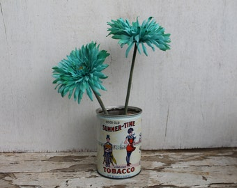 Vintage Summer-Time Tobacco Can
