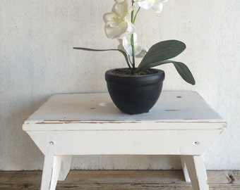 Vintage White Wood Farmhouse Stool