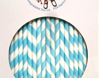 Paper Straws Turquoise Box of 144