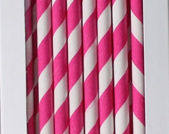 Paper Straws Hot Pink Box of 144