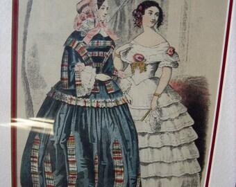 "Victorian Fashion Ladies Original Print by ""Godey"" Circa: 1855  Item # 186 Victorian Collectables"