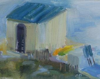Beach Plein Air Painting, Florida, Beach House, Condo art, Nautical, Destin Beach Scene, Beach Supply Shack, Original oil by Carol DeMumbrum