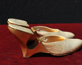 Vintage 50's GALLIANO shoes mules Old hollywood size 5 1/2 Yma Sumac owned by thekaliman