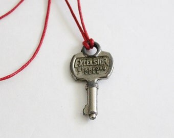 Vintage Tiny Excelsior 700 Mid Century Key - Upcycled Necklace on Waxed Red Cord, Stamford CT, mini