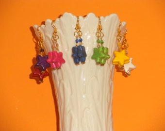 Clearance Sale Price 3.00 each .. Stars Dangle Earrings on Gold Metal w/Bicone Crystal ... choice of color ... 2 inches long dangle Earrings