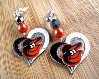 Baltimore Orioles Fan Earrings - Orioles Bird in Caps Long Dangly Hearts Orange Faux Pearl & Black Crystal