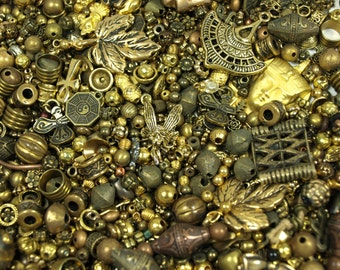 Grab Bag of Gold Colored Metal Beads, Pendants, Links and Findings. MIX4046