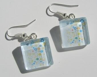 Blue Earrings, Blue Glass Dangle Earrings, Pastel Earrings, Summer Earrings, Blue White Earrings