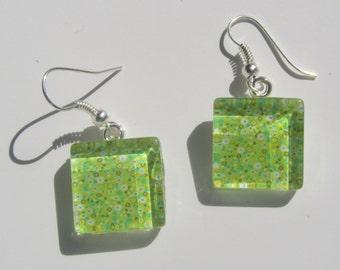 Green Earrings, Green Glass Dangle Earrings, Bright Green Earrings, Summer Earrings