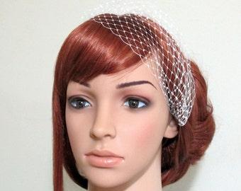 Petite Bandeau Veil Mini French Net Head Piece Bridesmaids Hair Bridal Accessory Many Colors