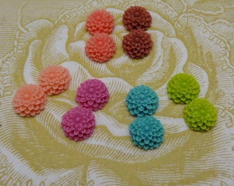 100-00-CA  12pcs Beautiful Resin Flower Cabochon,Mix-Colour (B)